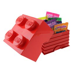 Box Surpriz Lego pleine de bonbons (brick 2x2, rouge)