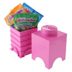 Box Surpriz Lego pleine de bonbons (brick 1x1, rose)